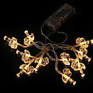 Χαμηλού Κόστους Φώτα LED-1,2 Ίντσες Φώτα σε Κορδόνι 10 LEDs Θερμό Λευκό Νεό Σχέδιο Μπαταρίες AA Powered 1pc