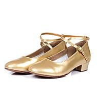 billige Moderne sko-Dame Moderne sko PU Høye hæler Tykk hæl Kan spesialtilpasses Dansesko Gull / Sølv