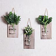 billige Kunstige blomster-Kunstige blomster 0 Gren Veggmontert Rustikk / Retro Rød Vase Veggblomst