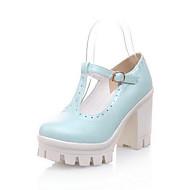 baratos Sapatos Femininos-Mulheres Sapatos Confortáveis Couro Ecológico Outono Sandálias Salto Robusto Branco / Azul / Rosa claro