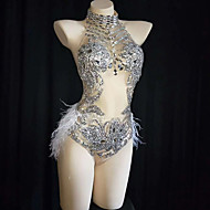 cheap -Dance Costumes Exotic Dancewear / Nightclub Jumpsuits Women's Performance Spandex Feathers / Fur / Crystals / Rhinestones Sleeveless Leotard / Onesie