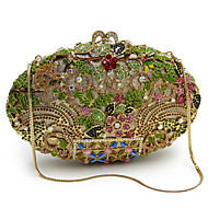 baratos Clutches & Bolsas de Noite-Mulheres Bolsas Liga Bolsa de Festa Detalhes em Cristal / Vazados Animal Dourado / Preto