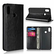 billiga Mobil cases & Skärmskydd-fodral Till Xiaomi Mi Mix 2 / Xiaomi Mi Mix 2S Plånbok / Stötsäker / med stativ Fodral Enfärgad Hårt Äkta Läder för Xiaomi Mi Max 3 / Xiaomi Mi Max 2 / Xiaomi Mi Max