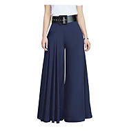Women's Slim Wide Leg / Chinos Pants - Solid Colored Wine / Going out
