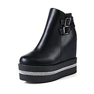 baratos Sapatos Femininos-Mulheres Sapatos Confortáveis Couro Ecológico Outono Mocassins e Slip-Ons Salto Plataforma Botas Curtas / Ankle Branco / Preto