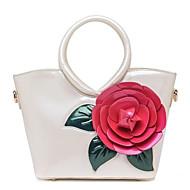 baratos Bolsas Tote-Mulheres Bolsas PU Tote Ziper / Flor Floral / Botânico Rosa / Fúcsia / Vinho