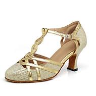 billige Moderne sko-Dame Moderne sko Syntetisk Høye hæler Spenne / Sided Hollow Out Tykk hæl Dansesko Gull / Svart / Sølvgrå
