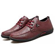 tanie Obuwie męskie-Męskie Komfortowe buty PU Jesień Casual Oksfordki Antypoślizgowe Czarny / Szary / Czerwony