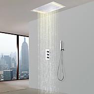 billige Rabatt Kraner-Dusjkran - Moderne Krom Dusjsystem Keramisk Ventil Bath Shower Mixer Taps / Messing / Tre Håndtak tre hull
