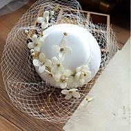 生地 ジェイドペンダント / フラワー  -  帽子 1個 結婚式 / パーティー かぶと