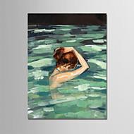 billiga Människomålningar-Hang målad oljemålning HANDMÅLAD - Människor Moderna Utan innerram / Valsad duk