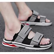 tanie Obuwie męskie-Męskie Komfortowe buty Płótno Lato Sandały czarny / srebrny / czarny / biały / Czarny / Czerwony