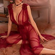 Žene Super seksi Babydoll / slip haljina Noćno rublje - Čipka / Cvijet Jednobojni / Duboki V