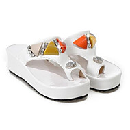 Women's Comfort Shoes Suede Summer Sandals Wedge Heel White / Black