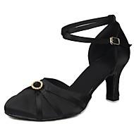 billige Kustomiserte dansesko-Dame Moderne sko Sateng Høye hæler Spenne / Krystalldetaljer Kubansk hæl Kan spesialtilpasses Dansesko Svart