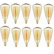 baratos Incandescente-10pçs 40 W E14 ST48 Branco Quente 2200-2700 k Retro / Regulável / Decorativa Incandescente Vintage Edison Light Bulb 220-240 V