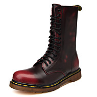 billige Sko i Store Størrelser-Dame Combat-boots Lær Vinter Klassisk / Fritid Støvler Flat hæl Støvletter Svart / Brun / Vin