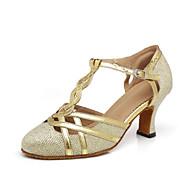 billige Moderne sko-Dame Moderne sko Syntetisk Høye hæler Spenne / Sided Hollow Out Kubansk hæl Dansesko Gull / Svart / Sølvgrå