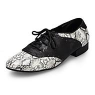 billige Moderne sko-Herre Moderne sko Fuskelær / Lær Joggesko Tvinning Tykk hæl Dansesko Svart-Hvit