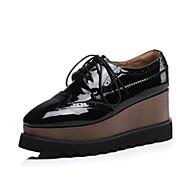 baratos Sapatos Femininos-Mulheres Sapatos Confortáveis Couro Envernizado Verão Oxfords Salto Plataforma Preto / Vinho