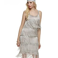 The Great Gatsby Vintage 1920s Costume Women's Party Costume Masquerade Flapper Dress Headwear Pearl Necklace White