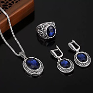 Women's Sapphire Gemstone Vintage Style Jewelry Set Rhinestone Ladies, Luxury, Unique Design, Vintage Include Bridal Jewelry Sets Green / Blue For Party Gift / Earrings