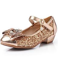baratos Sapatos de Menina-Para Meninas Sapatos Couro Ecológico Primavera & Outono Sapatos para Daminhas de Honra Rasos Laço / Lantejoulas para Infantil / Adolescente Dourado / Prateado / Rosa claro