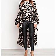 여성용 플레어 슬리브 루즈핏 A 라인 드레스 - 레오파드, 프린트 비대칭