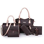여성용 지퍼 가방 세트 가방 세트 우레탄 기하학 패턴 6 개 지갑 세트 블랙 / 블러슁 핑크 / 브라운 / 가을 겨울