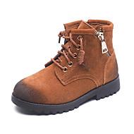 baratos Sapatos de Menino-Para Meninos / Para Meninas Sapatos Couro de Porco Inverno Coturnos Botas Ziper / Cadarço para Infantil Preto / Marron