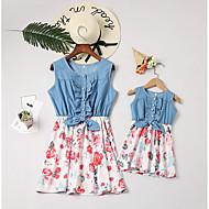 Mama und ich Aktiv Alltag Blumen Ärmellos Polyester Kleid Weiß
