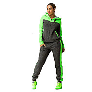 cheap -Women's Cowl Neck Elastic Waistband Tracksuit Green Pink Sports Color Block Hoodie Pants / Trousers Clothing Suit Fitness Gym Workout Long Sleeve Plus Size Activewear Breathable Quick Dry / Winter