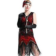 cheap -The Great Gatsby 1920s The Great Gatsby Roaring Twenties Costume Women's Dress Flapper Headband Headwear Vintage Necklace Red black Vintage Cosplay Polyester Party Prom Sleeveless / Sequins