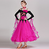 ריקודים סלוניים שמלות בגדי ריקוד נשים הצגה ספנדקס / ג'ורג'ט אפליקציות / קריסטלים / אבנים נוצצות שרוול ארוך גבוה שמלה / Neckwear
