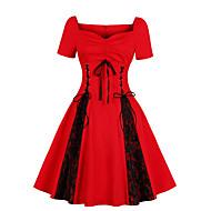 Damen Übergrössen Elegant A-Linie Kleid Übers Knie V-Ausschnitt