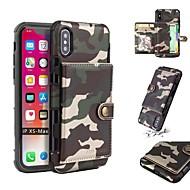 billiga Mobil cases & Skärmskydd-fodral Till Apple iPhone X / iPhone XS Max Plånbok / Korthållare / Stötsäker Skal Kamuflasje Mjukt PU läder / TPU för iPhone XS / iPhone XR / iPhone XS Max