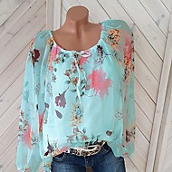 cheap -Women's Plus Size Cotton Blouse - Floral Print Off Shoulder White XXXL