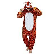 Adulte Pyjamas Kigurumi Tiger Combinaison de Pyjamas Flanelle Orange Cosplay Pour Homme et Femme Pyjamas Animale Dessin animé Fête / Célébration Les costumes / Rayure