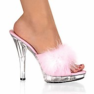 cheap Women's Sandals-Women's Patent Leather Spring / Summer Club Shoes Clogs & Mules Stiletto Heel / Crystal Heel Feather Black / Red / Pink / Wedding / Party & Evening / Party & Evening