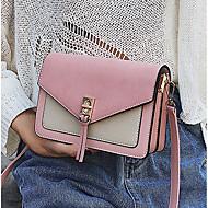baratos Bolsas de Ombro-Mulheres Bolsas PU / Veludo Bolsa de Ombro Botões / Ziper Estampa Colorida Preto / Rosa / Amarelo