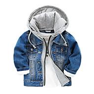 Bambino Da ragazzo Essenziale Quotidiano Tinta unita Manica lunga Cotone Giubbino e cappotto Blu
