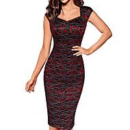 Damen Übergrössen Anspruchsvoll Hülle Kleid Solide Übers Knie Sweetheart