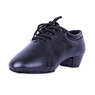 billige Jazz-sko-Gutt Jazz-sko Fuskelær Høye hæler Tvinning Tykk hæl Kan spesialtilpasses Dansesko Svart