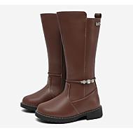 baratos Sapatos de Menina-Para Meninas Sapatos Pele Inverno Botas da Moda Botas Pedrarias / Ziper para Infantil Cinzento / Marron / Botas Cano Alto