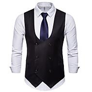 Heren Dagelijks Zakelijk Grote maten Normaal Vest, Effen Overhemdkraag Lange mouw Polyester Zwart / Kameel / Grijs XXL / XXXL / 4XL / Business Casual / Slank