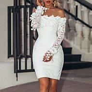 Femme Soirée Basique Mini Mince Gaine Robe - Dentelle Paillettes, Couleur Pleine Epaules Dénudées Printemps Eté Blanc M L XL Manches Longues / Sexy