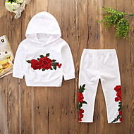 Kids / Toddler Girls' Active / Basic Daily / Holiday Floral Embroidered Long Sleeve Regular Cotton / Spandex Clothing Set White