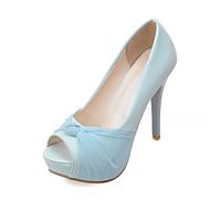 Žene PU Proljeće ljeto Cipele na petu Stiletto potpetica Peep Toe Mašnica Crvena / Plava / Pink / Vjenčanje / Zabava i večer
