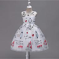Brzdąc Dla dziewczynek Słodkie Impreza Geometric Shape Bez rękawów Poliester Sukienka Czerwony