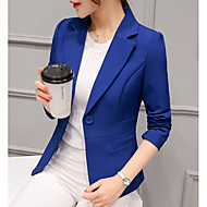 cheap -Women's Work Short Blazer, Solid Colored Notch Lapel Long Sleeve Polyester Wine / Light Blue / Royal Blue L / XL / XXL